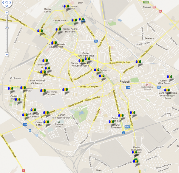 Harta puncte colectare Ploieşti